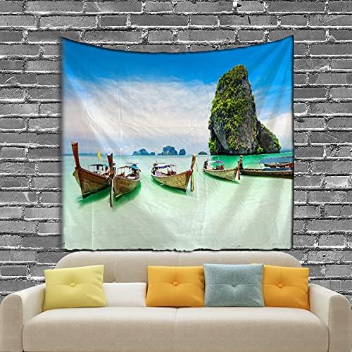 KHKJ Wallnut Shell Patten Tapiz 3D Impreso Hermosa Playa Escénica Sala de Estar Decoración A2 200x150cm