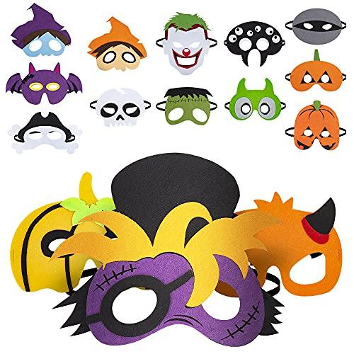 ZIIDOO Halloween Masks,15pcs Felt Masks,Pumpkin Ghost, Witch, Bat for Halloween Cosplay Masks, Halloween Party Favors for Adults Kids