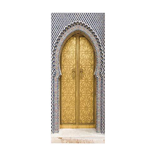 YQZYMT® Etiqueta de puerta 3D Mural de arte Carteles Pegatina Arco dorado musulmán vintage 88X200CM puerta pegatina Murales PVC papel pintado autoadhesivo calcomanías artísticas sala de estar dormitor