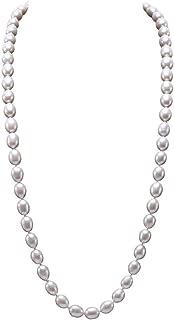 echte 10-11 mm weiße barocke Perlenkette Magnetverschluss