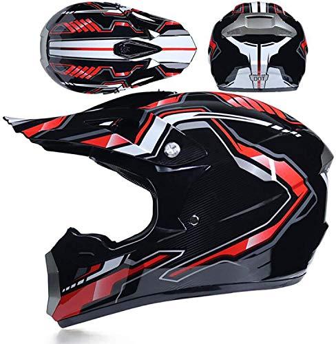 ZYW All-Terrain-Helm Erwachsene Helm Rally Helm Motorradhelm All-Terrain Vehicle Scooter Helm Brille Verfügbar Handschuhe Maske Erwachsene,Rot,M