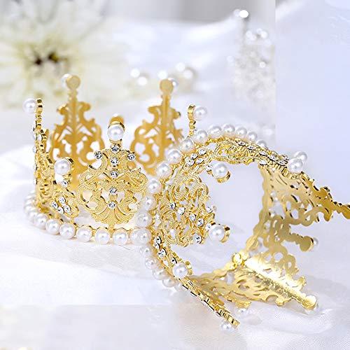 SACALA 2 stücke Gold Krone Tortenaufsatz, Kuchendekoration Perle goldene Krone für Kinder Geburtstag Party
