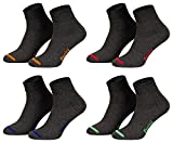 Piarini 8 Paar kurze Socken Kurzsocken Quarter Socken für Damen Herren Kinder - dünn, ohne Gummib& - anthrazit mit Neonspitze 43-46