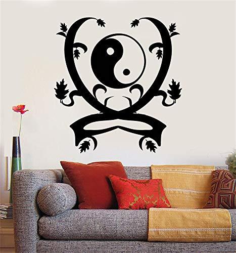 stickers muraux arbre et hiboux Yin Yang Zen Asias pour la chambre à coucher du salon