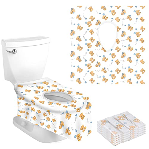 20 Packs Disposable Toilet Seat Covers, Full Coverage & Non-Slip Waterproof Travel Potty Seat Cover Individually Wrapped Potty Seat Covers for Travel Perfect for Adults & Kids (Cartoon Bear)