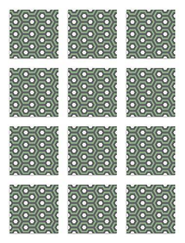 Panorama Azulejos Adhesivos Cocina Baño Pack de 8 Cenefas de Baldosas de 100x10cm Resplandor Verde - Vinilos Cocina Azulejos - Revestimiento de Paredes - Cenefas Azulejos Adhesivas