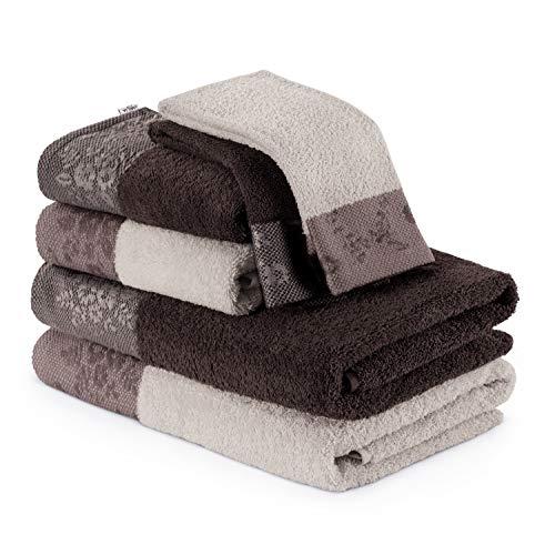 AmeliaHome Handtuch Set 6 Handtücher Duschtücher 100% Baumwolle Bordüre 70x140 50x90 30x50 cm beige braun 500 g/m² Crea