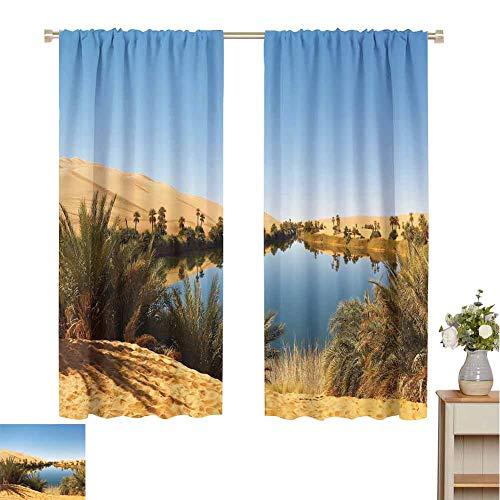 hengshu Desert Rustic Curtains for Living Room Idyllic Oasis Awbari Sand Sea Sahara Libya Pond Lush Arid Country Living Room Decor Blackout Shades W42 x L63 Inch Light Blue Green Sand Brown