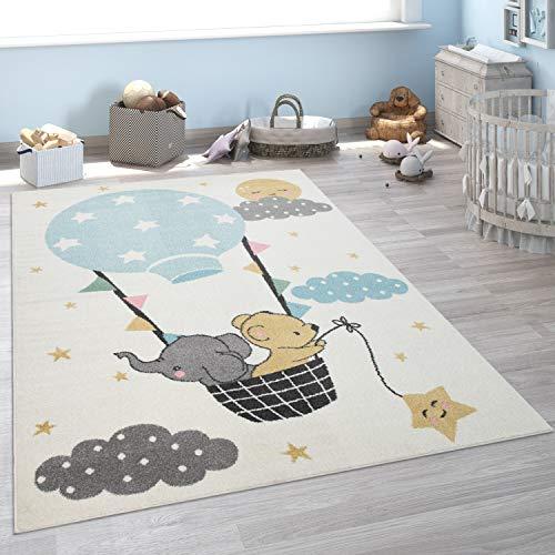 Kinder-Teppich, Kurzflor Für Kinderzimmer, Elefant, Bär, Balon, Mond, in Beige, Grösse:133x190 cm