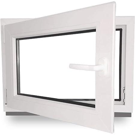 3 fach Verglasung Fenster DIN Links BxH: 100 x 40 cm wei/ß 60 mm Profil Kellerfenster 1000 x 400 mm Kunststoff