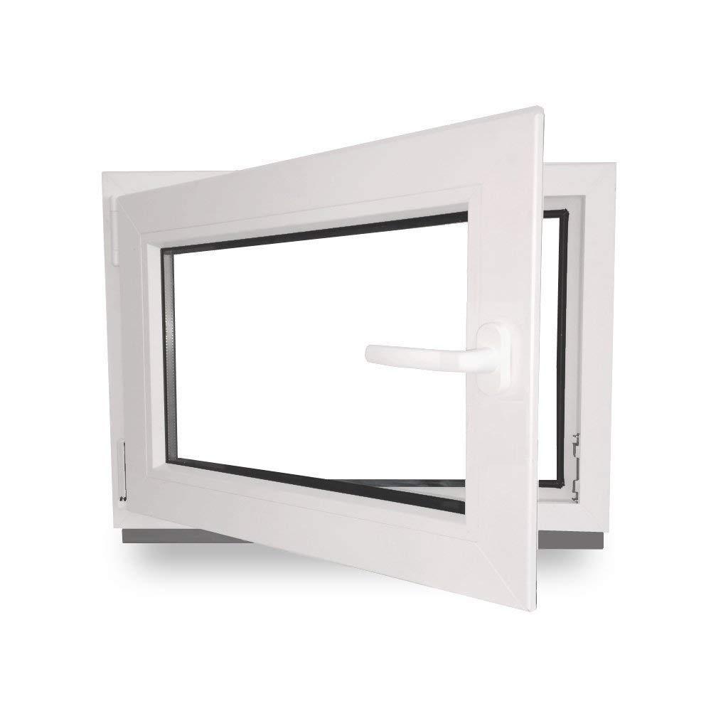 DIN Rechts BxH: 70 x 100 cm 2 fach Verglasung 700 x 1000 mm Fenster 60 mm Profil Kellerfenster innen wei/ß//au/ßen wei/ß Dreh- /& Kippfunktion