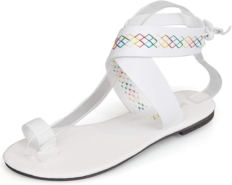 HEDDK Women Bohemian Flat Ankle Cross Strap Sandals Summer Peep Toe Beach Casual Roman Gladiator Sandals Flip Flops Plus Size 35-42