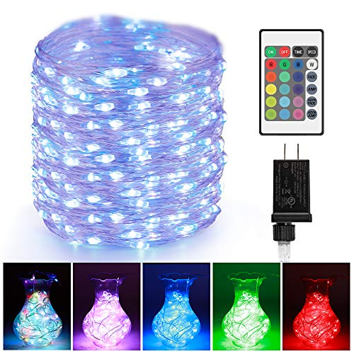 LED Rope String Lights Outdoor - 66ft 200LEDs RGB Color Changing Starry Fairy Lights, UL-Listed Plug in Multi-Color Waterproof Copper Wire Lights for Bedroom, Party, Wedding, Christmas Decor