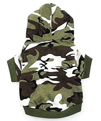 SMALLLEE_LUCKY_STORE Small Dog Camo Hoodie Shirt Chihuahua Clothes for Boys Puppy Tee Shirt for Cat Yorkshire Toy Poodle Green M