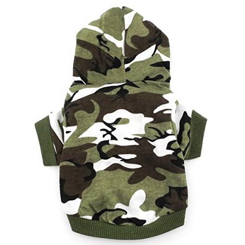 SMALLLEE_LUCKY_STORE Camicia da Cane Vestito per Cane di Piccola Taglia Verde Felpa con Cappuccio Cuccioli Magliette Gatto Yorkshire Chihuahua Cane Carino dei Vestiti