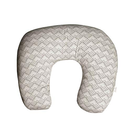 Nursing Pillow for Breastfeeding 100% Organic Cotton Maternity Positioner Comfortable Newborn Infant Baby Feeding Cushion Portable for Travel with Polyester Filling (20'x16', Dream Line Natural)