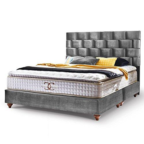 Boxspringbett Zürich Hotelbett Doppelbett Samt-Stoff Grau-Silber Matratze Topper Modern Luxus Bett (180 x 200 cm, Grau)