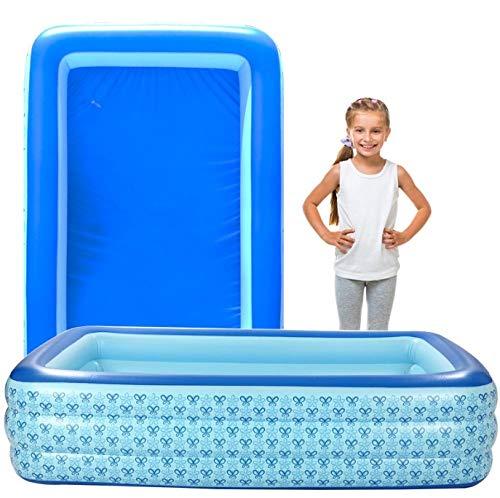OKOUNOKO Fast Set Pool, Gartenpool selbstaufbauend mit aufblasbarem Luftring rund im Komplett Set, Inflator, Schmetterling-305x175x67cm