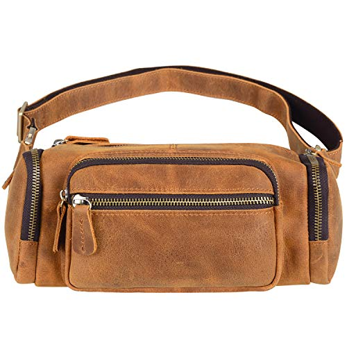 Jack&Chris Upgraded Leather Fanny Pack Waist Pack, Hip Bag Sling Shoulder Bag for Men and Women,Perfect for Outdoor/Hiking/Camping/Traveling,1804-7
