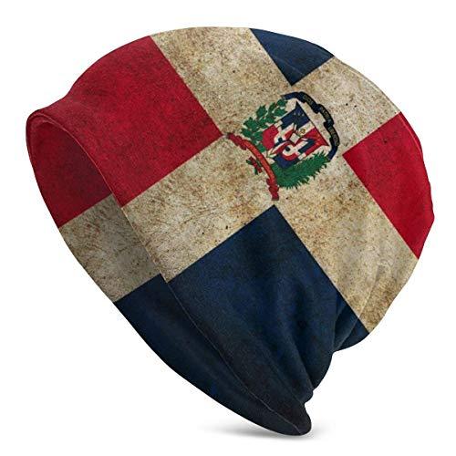 U Shape Dominikanische Republik Flagge RetroUnisex Frauen Männer Slouchy Beanie Hut Übergroße Baggy Skull Cap Stretchy Strickmütze