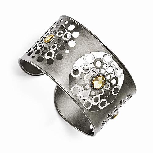 Sterling Silber und Ruthenium mit Citrin Armreif Armband–JewelryWeb