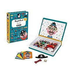 Janod- Book Crazy Faces Gioco Educativo con Magneti, Multicolore, J02716