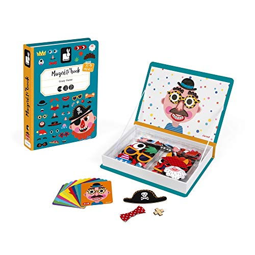 Janod- Book Crazy Faces Gioco Educativo con Magneti, Multicolore, J02716