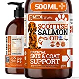 Medipaws® Salmon Oil For Dogs 500ml   For Skin Relief, Coat, Itchy Dogs, Joints, Arthritis, Heart, Brain Health   100% Pure Fish Oil   Natural Omega 3 6 9 Supplement for Dogs, Cats & Pets   500ml