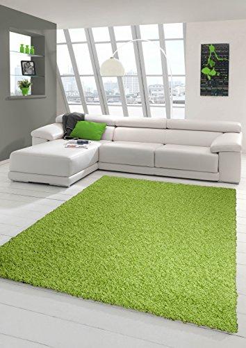 Shaggy Teppich Hochflor Langflor Teppich Wohnzimmer Teppich Gemustert in Uni Design Grün Größe 160x230 cm