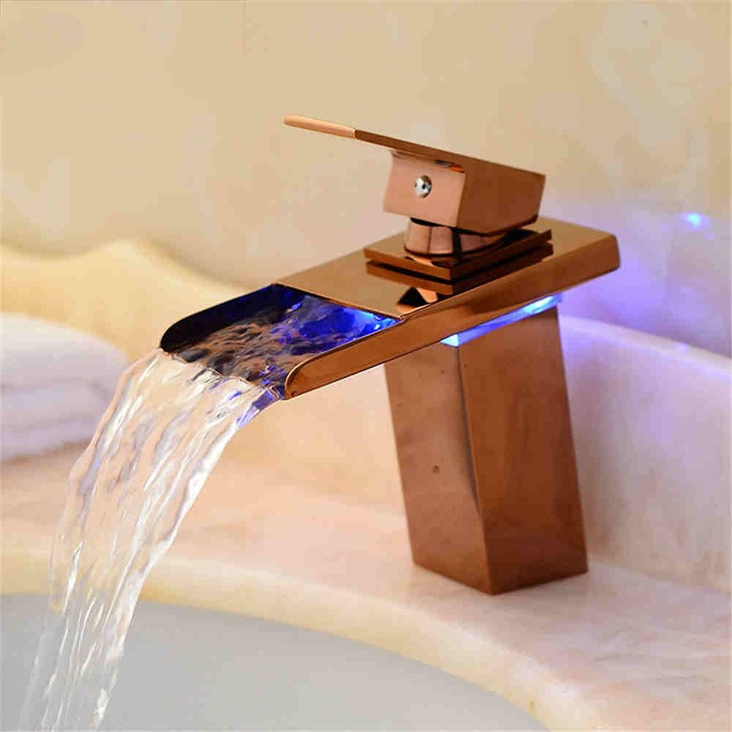 AQMMi Basin Taps Bathroom Sink Faucet LED Glow Antique Waterfall Hot and Cold Water Single Lever Bathroom Sink Faucet Basin Mixer Tap