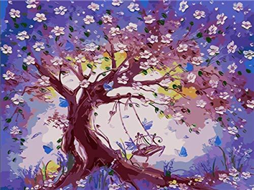 JinWensm Malen Nach Zahlen Erwachsene Kinder Schaukel unter dem Baum DIY Handgemalt Ölgemälde auf Leinwand Geschenk Home Haus Dekor 16x20 Zoll / 40 * 50 cm Ohne Rahmen