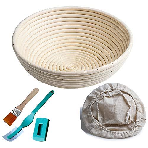Gärkörbchen rund, ø 25 cm, Höhe 8.5 cm Banneton Proof Korb für Brot und Teig [inkl. Pinsel] Proof Rising Rattan Schale(1000g Teig) + Gratis Liner + Bäckermesser