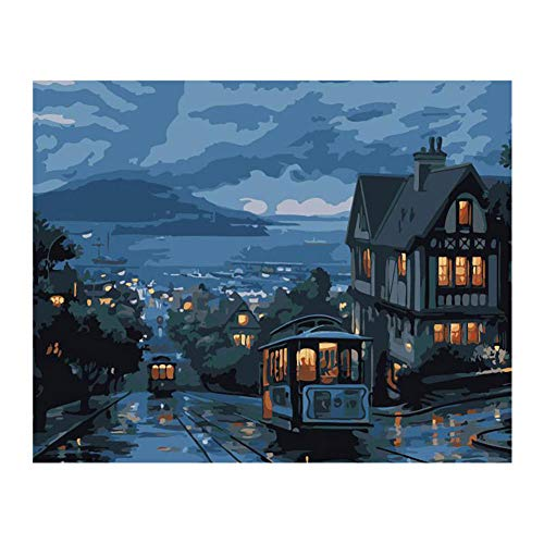 Gzjp Zestaw do malowania nocnego autobusu według numerów, ręcznie malowany obraz olejny do samodzielnego wykonania, płótno, akryl, dzieci początkujący, sztuka ścienna cyfrowy obraz do dekoracji wnętrz, 40 x 50 cm bez ramy
