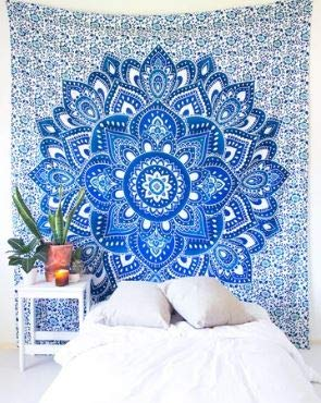 Bless International Indian Hippie Bohemian Psychedelic Tapestry (Queen (84x90Inches)) (Aqua Summer Mandala Tapestry)
