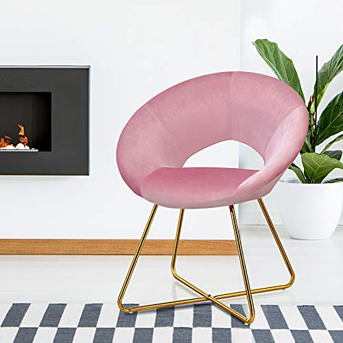 COSTWAY Velvet Accent Chair, Modern Armchair Lounge Chairs with Non-slip Pads, Upholstered Occasional Round Leisure Chair for Home Office Living Room Bedroom (Pink)