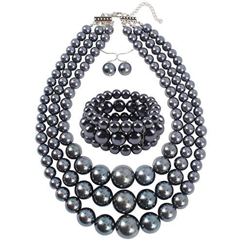 Shineland Elegant 3-Layers Simulated Pearl Strand Cluster Collar Bib Choker Costume Jewelry Sets (Grey)
