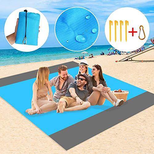 Couverture de pique-nique en extra large 210 x 200 cm Imperméable à l'eau et au sable à séchage rapide avec sac portable et 4 clous fixes pour plage, camping, randonnée et voyage sur gazon