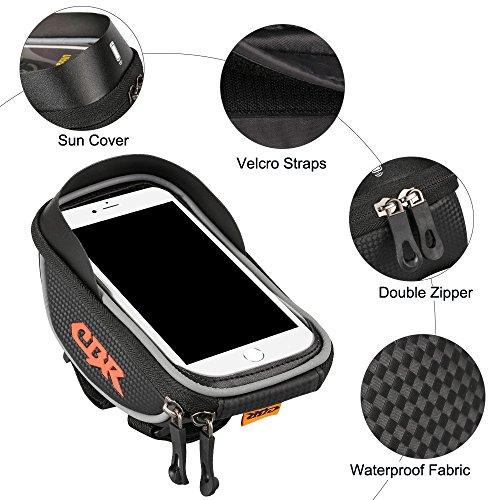 Furado Rahmentaschen, Fahrradtaschen Fahrrad Rahmentaschen für Smartphone bis zu 6 Zoll, Wasserabweisende Fahrrad Handyhalterung für alle Fahrradtypen, Fahrradtasche Rahmentaschen - 4