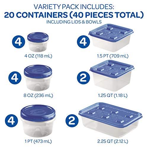Ziploc Food Storage Meal Prep Containers, Variety Pack, 40 Count, Twist N Loc & Press & Seal
