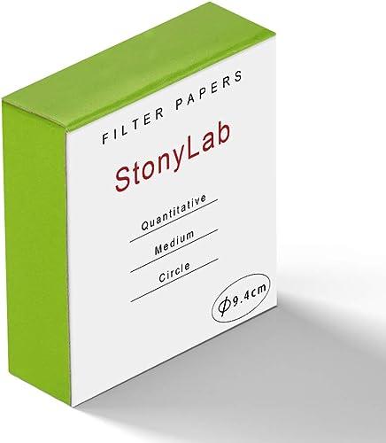 StonyLab Quantitative Filter Paper Circles, 94mm Diameter Cellulose Filter Paper with 20 Micron Particle Retention Me...