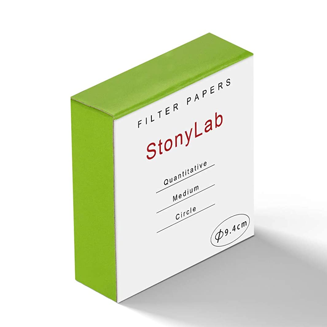 StonyLab Quantitative Filter Paper Circles, 94mm Diameter Cellulose Filter Paper with 20 Micron Particle Retention Medium Filtration Speed, Pack of 100