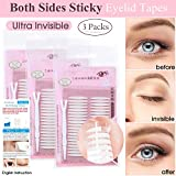 3 Packs Ultra Invisible Double Sided Sticky Double Eyelid Tapes Stickers, Medical-use Adhesive Fiber, Instant Eyelid Lift Without Surgery Perfect for Heavy Saggy, Hooded, Droopy, Uneven, Mono-eyelids