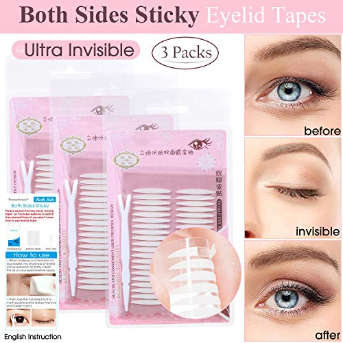 3 Packs Ultra Invisible Double Sided Sticky Double Eyelid Tapes Stickers, Medical-use Self-Adhesive Fiber, Instant Eyelid Lift Without Surgery, Perfect for Hooded, Droopy, Uneven, Mono-eyelids