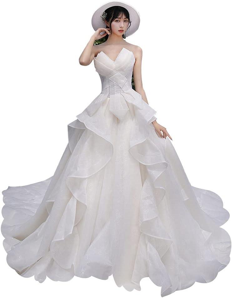 Tube Top Wedding Dresses Women's Mesh Design Sculpting Straps Trailing Skirt Bride Dress for Bride Party Ball (Color : White, Size : Medium)