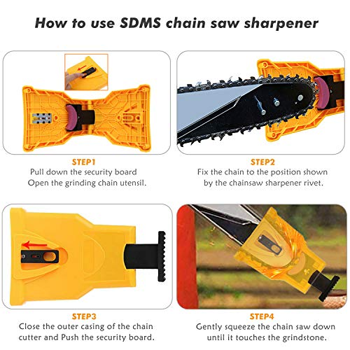 Chainsaw Sharpener,EYBS Portable Chain Saw Blade Teeth Sharpener Work Sharp Fast-Sharpening Stone Grinder Tools Suitable for 14/16/18/20 Inch One/Two Holes Chain Saw Bar