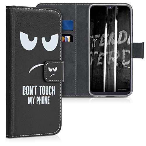 kwmobile Hülle kompatibel mit Samsung Galaxy A20e - Kunstleder Wallet Case mit Kartenfächern Stand Don't Touch My Phone Weiß Schwarz