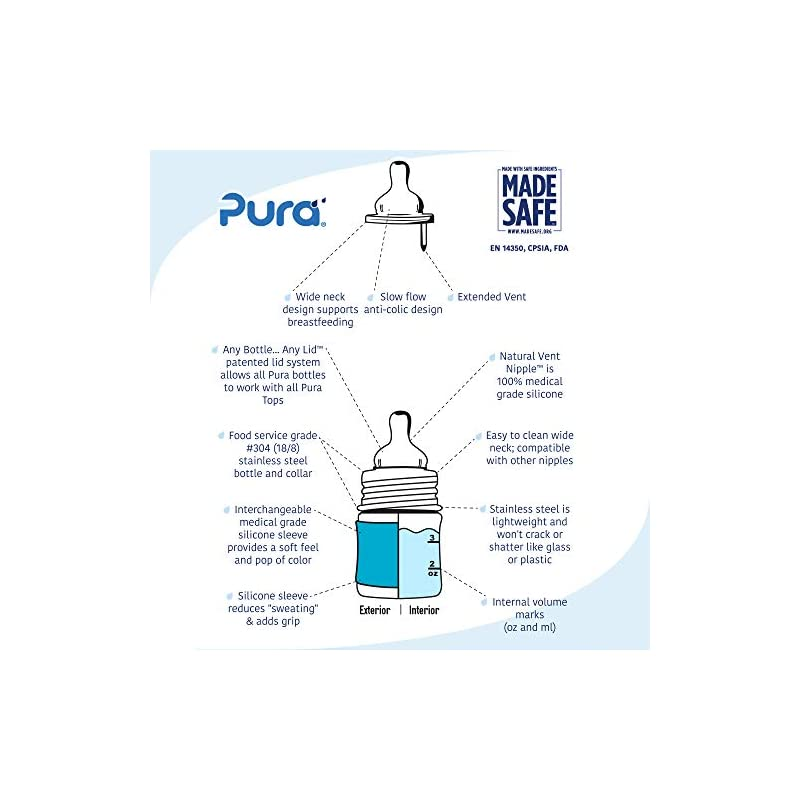 crib bedding and baby bedding pura kiki 5 oz / 150ml stainless steel anti-colic infant bottle with silicone natural vent nipple & sleeve, aqua (plastic free, nontoxic certified, bpa free)