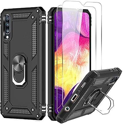 LeYi Funda para Samsung Galaxy A50 con [2 Unidades] Cristal Templado,Armor Carcasa con 360 Grados Anillo iman Soporte Hard PC Silicona TPU Bumper Antigolpes Case para Movil Samsung A50,Negro