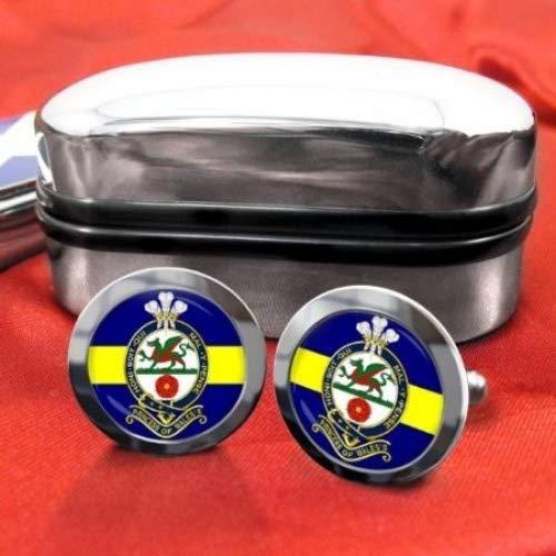 Princess of Wales» s Royal régiment Chrome pour homme Boutons de manchette avec coffret cadeau