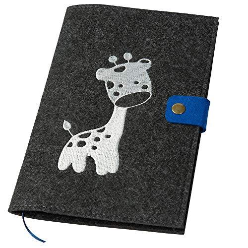 U-Hefthülle bestickt mit Giraffe aus Filz dunkelgrau/blau (Farbe wählbar)   Organizer Tasche für Baby mit farbigem Druckknopf Uhefthülle Untersuchungsheft U-Heft Impfpass